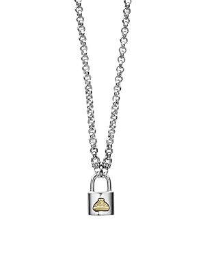 Lagos Sterling Silver & 18K Yellow Gold Beloved Lock Pendant Necklace, 18