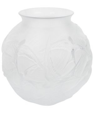 Lalique - Hirondelles Round Crystal Vase - Clear