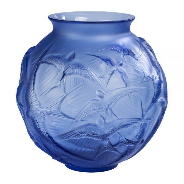 Lalique - Hirondelles Round Crystal Vase - Sapphire Blue