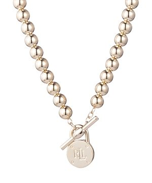 Lauren Ralph Lauren Beaded Logo Pendant Necklace, 17