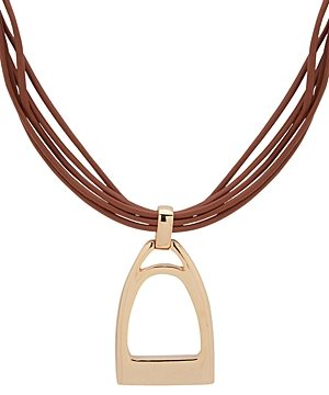Lauren Ralph Lauren Leather Pendant Necklace, 15