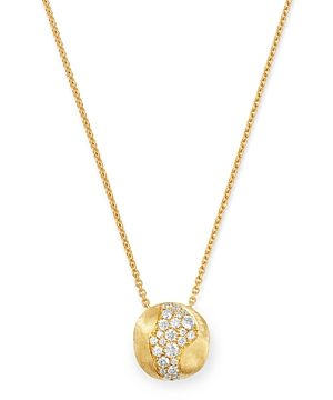 Marco Bicego 18K Yellow Gold Africa Pave Diamond Boule Pendant Necklace, 16.5