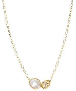Marco Bicego 18K Yellow Gold Lunaria Brilliant-Cut Diamond & Mother of Pearl Pendant Necklace, 16.5