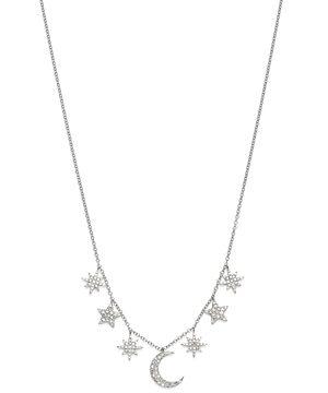 Meira T 14K White Gold Celestial Diamond Multi-Charm Pendant Necklace, 16-18