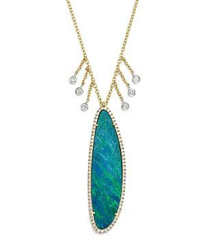 Meira T 14K White & Yellow Gold Dark Opal & Dangling Diamond Pendant Necklace, 16