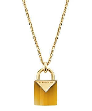 Michael Kors Kors Color Semi-Precious 14K Gold-Plated Sterling Silver Padlock Pendant Necklace, 16