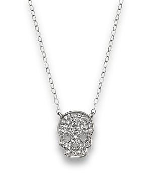 Micro Pave Diamond Skull Pendant Necklace in 14K White Gold, 0.14 ct. t.w.
