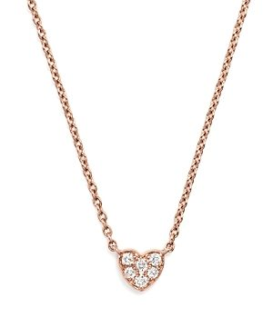 Mini Diamond Heart Pendant Necklace in 14K Rose Gold, .07 ct. t.w.