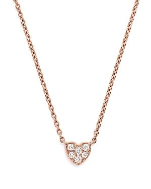 Mini Diamond Heart Pendant Necklace in 14K Rose Gold, .07 ct. t.w.