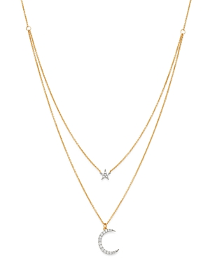 Moon & Meadow Diamond Two-Layer Star & Moon Pendant Necklace in 14K Yellow Gold, 0.2 ct. t.w. - 100% Exclusive