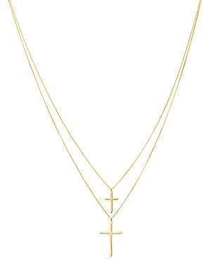 Moon & Meadow Double-Layer Cross Pendant Necklace in 14K Yellow Gold, 18 - 100% Exclusive