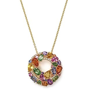 Multi Sapphire and Diamond Pendant Necklace in 14K Yellow Gold, 17 - 100% Exclusive