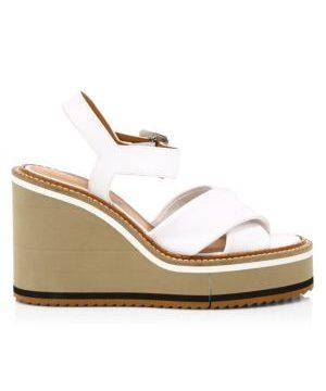 Noemie Leather Platform Wedge Sandals