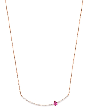 Own Your Story 14K Rose Gold Linear Red Garnet & Diamond Bar Pendant Necklace, 16-18