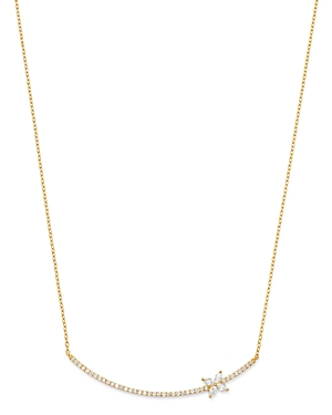 Own Your Story 14K Yellow Gold Linear Diamond Butterfly Bar Pendant Necklace, 18