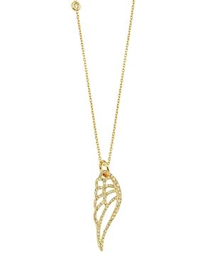 Own Your Story 14K Yellow Gold Nature Diamond Wing Pendant Necklace