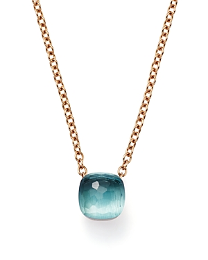 Pomellato Nudo Pendant Necklace with Blue Topaz in 18K Rose and White Gold