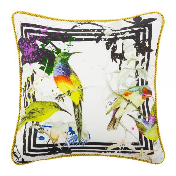 Roberto Cavalli - Bird Ramage Silk Bed Cushion - White - 40x40cm