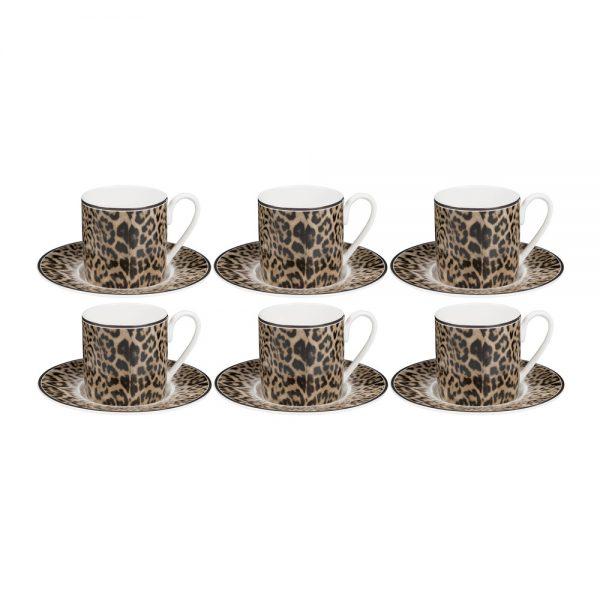 Roberto Cavalli - Jaguar Espresso Cups & Saucers - Set of 6