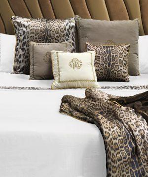 Roberto Cavalli - Leopard Border Bed Set - White - Super King