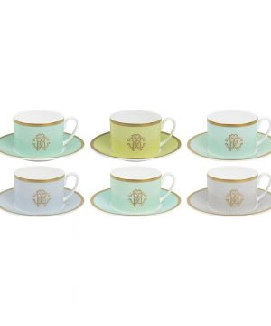Roberto Cavalli - Lizzard Teacups & Saucers - Set of 6 - Sunrise