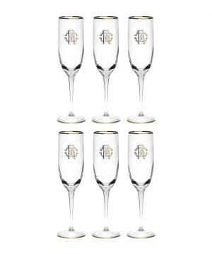 Roberto Cavalli - Monogram Champagne Goblets - Set of 6 - Gold