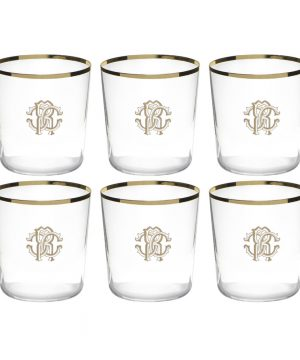 Roberto Cavalli - Monogram Old Fashion Glasses - Set of 6 - Gold
