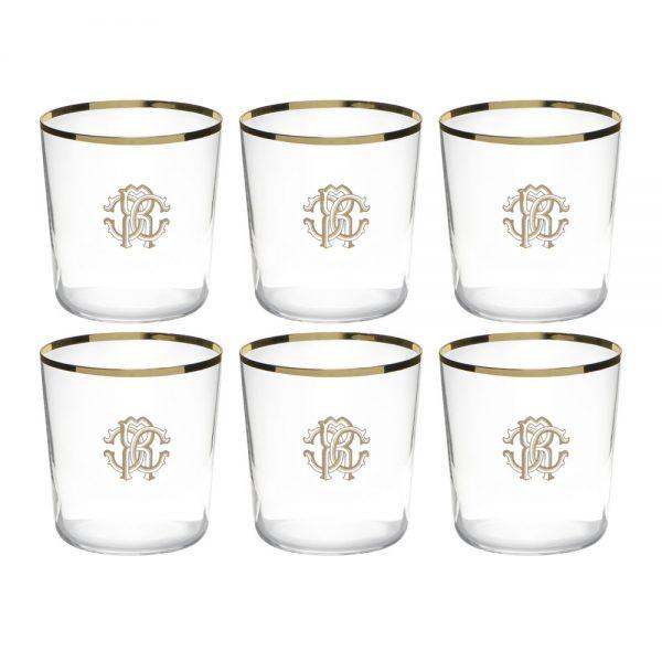 Roberto Cavalli - Monogram Old Fashion Glasses - Set of 6 - Gold