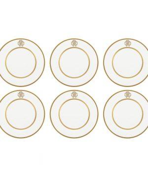 Roberto Cavalli - Silk Gold Dessert Plates - Set of 6