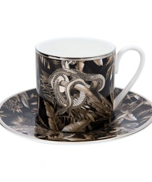 Roberto Cavalli - Tropical Jungle Espresso Cup & Saucer - Black