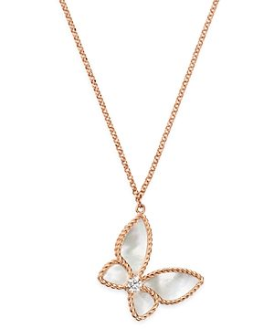 Roberto Coin 18K Rose Gold Mother-of-Pearl & Diamond Butterfly Pendant Necklace, 16 - 100% Exclusive