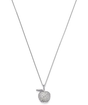 Roberto Coin 18K White Gold Tiny Treasure Diamond Apple Pendant Necklace, 16