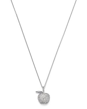 Roberto Coin 18K White Gold Tiny Treasure Diamond Apple Pendant Necklace, 16