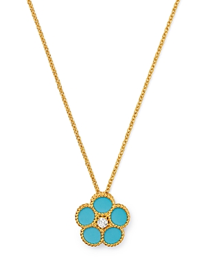 Roberto Coin 18K Yellow Gold Daisy Diamond & Turquoise Pendant Necklace, 16 - 100% Exclusive