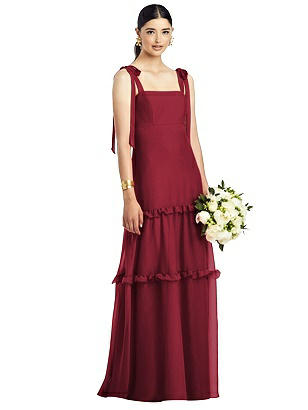 Special Order Bowed Strap Chiffon Gown with Tiered Ruffle Skirt