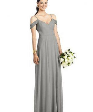 Special Order Cold-Shoulder V-Back Chiffon Maxi Dress