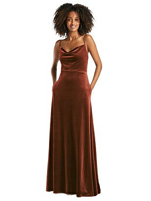 Special Order Cowl-Neck Velvet Maxi Dress with Pockets