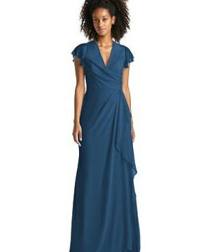 Special Order Flutter Sleeve Draped Wrap Maxi Dress