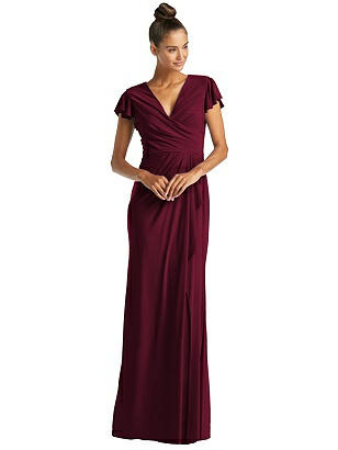 Special Order Flutter Sleeve Draped Wrap Trumpet Gown