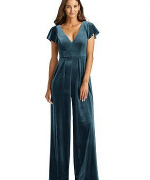 Special Order Flutter Sleeve Velvet Jumpsuit with Pockets