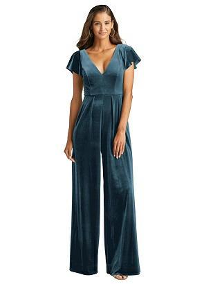 Special Order Flutter Sleeve Velvet Jumpsuit with Pockets