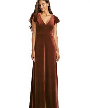 Special Order Flutter Sleeve Velvet Maxi Dress with Pockets