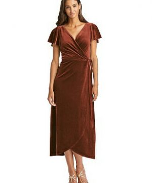 Special Order Flutter Sleeve Velvet Midi Wrap Dress with Pockets