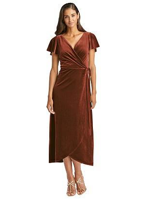 Special Order Flutter Sleeve Velvet Midi Wrap Dress with Pockets
