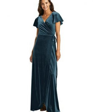 Special Order Flutter Sleeve Velvet Wrap Maxi Dress with Pockets
