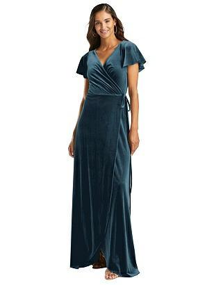 Special Order Flutter Sleeve Velvet Wrap Maxi Dress with Pockets