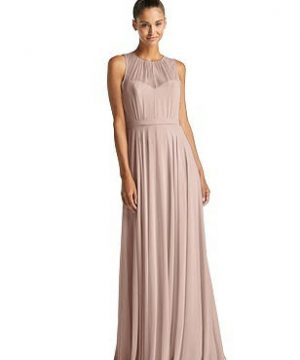Special Order Illusion Neck Open-Back Chiffon Maxi Dress