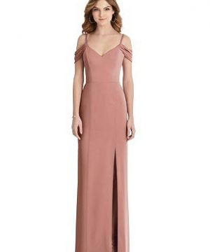 Special Order Off-the-Shoulder Chiffon Trumpet Gown with Front Slit