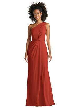 Special Order One-Shoulder Draped Chiffon Trumpet Gown