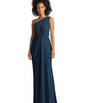 Special Order One-Shoulder Draped Trumpet Maxi Dress